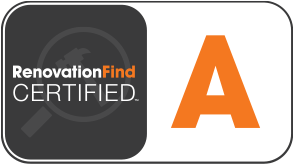 This logo demonstrates a company has received an A rating from Renovationfind.