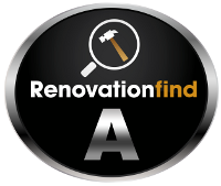 This logo demonstrates a company has received a Silver or A rating from Renovationfind.