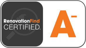 This logo indicates that a company has received RenovationFind's A- rating.